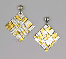 Silver Checkerboard Earrings by Marcia Meyers (Gold & Silver Earrings)