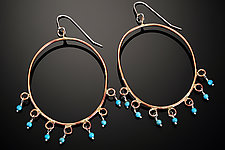 Large Oval Earring with 7 Drops by Randi Chervitz (Bronze & Stone Earrings)