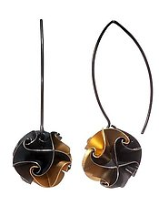 Gold Flora Drop Earrings by Chihiro Makio (Gold & Silver Earrings)