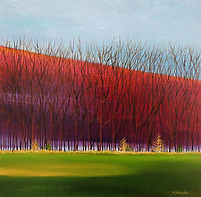 Trees with Hill by Mary Johnston (Oil Painting)