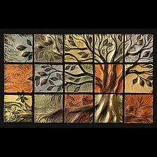 Tree of Life Wall Backsplash by Natalie Blake (Ceramic Wall Sculpture)