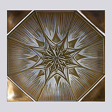 Flower Star Backsplash by Natalie Blake (Ceramic Wall Sculpture)