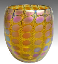 Yellow Transparent Iridized Nutty Bowl by Thomas Philabaum (Art Glass Bowl)