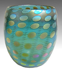 Teal Transparent Iridized Nutty Bowl by Thomas Philabaum (Art Glass Bowl)