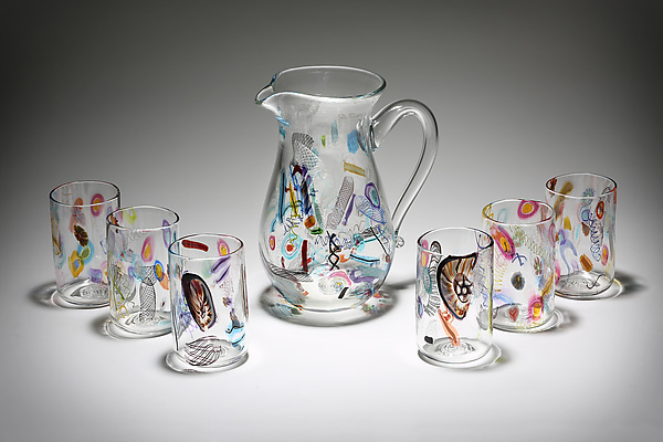 Cane and Murrini Pitcher with Matching Tumblers Set