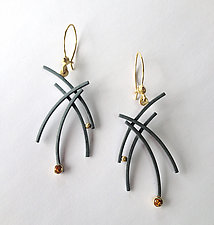 Line Drawing 1 Earrings by Ilene Schwartz (Gold, Silver & Stone Earrings)