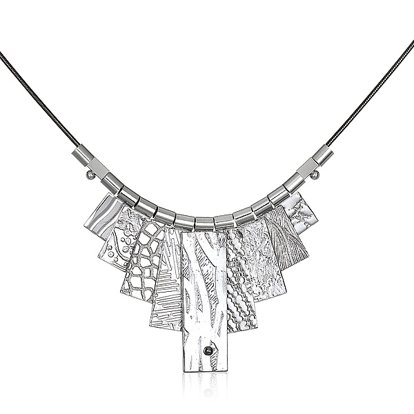 White Rhodium Tab Necklace