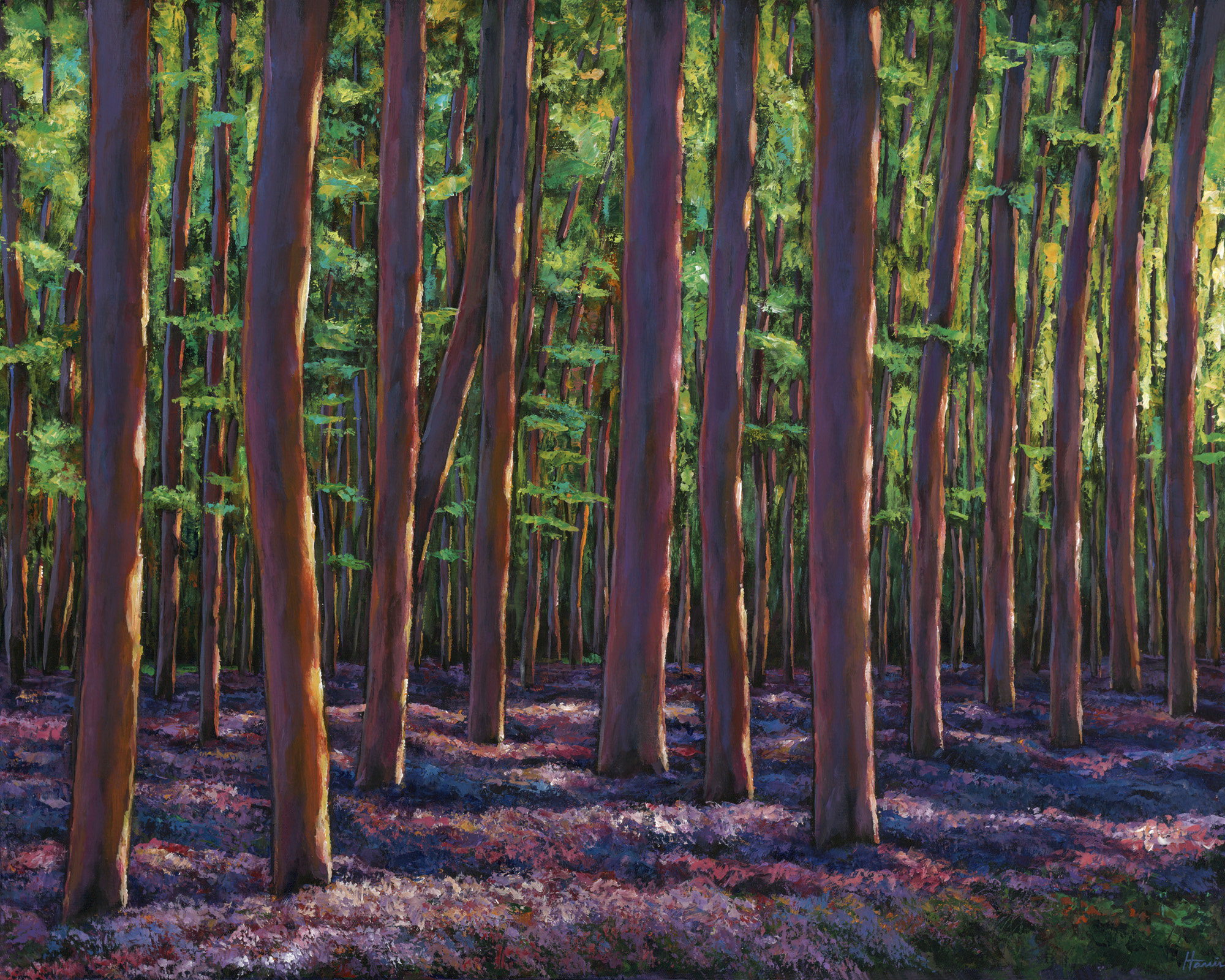 Bluebells and forest by johnathan harris acrylic painting for Painting a forest in acrylics