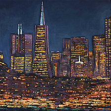 Bay City Lights by Johnathan  Harris (Acrylic Painting)