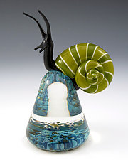 Green Cosmo Snail by Eric Bailey (Art Glass Paperweight)