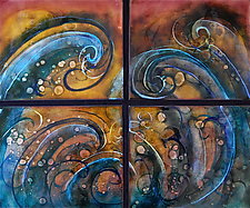 Whirlpool Quartet by Cynthia Miller (Art Glass Wall Sculpture)