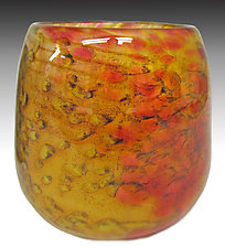 Yellow Mini Riverbed Bowl by Thomas Philabaum (Art Glass Bowl)