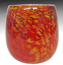 Red Mini Riverbed Bowl by Thomas Philabaum (Art Glass Bowl)