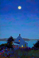 Yellow House, Full Moon by Suzanne Siegel (Pigment Print)