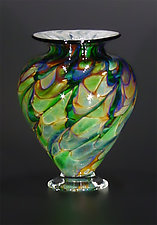 Teal Squat Vase by The Glass Forge (Art Glass Vase)