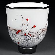 Zimska Jabuka (Winter Apples) Flattened Vase by Eric Bladholm (Art Glass Vase)