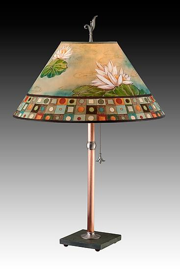 Copper Table Lamp with Large Conical Shade in Lily Mosaic Multi