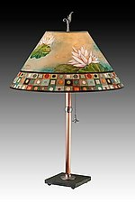 Copper Table Lamp with Large Conical Shade in Lily Mosaic Multi by Janna Ugone (Mixed-Media Table Lamp)
