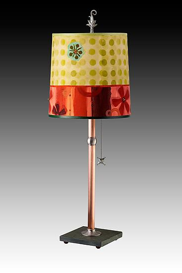 Copper Table Lamp with Medium Drum Shade in Citrus Dotty