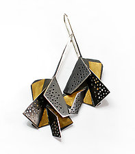 Origami Earrings #3 by Sophia Hu (Gold & Silver Earrings)
