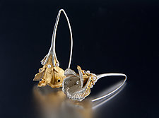 Flower Drop Earrings by Carol Salisbury (Gold, Silver, Stone & Pearl Earrings)