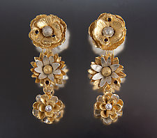 Three-Tier Floral Earrings by Carol Salisbury (Gold, Silver, Stone & Pearl Earrings)