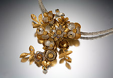 Garden Bouquet Necklace by Carol Salisbury (Gold, Silver, Stone & Pearl Necklace)