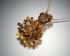 Three Tier Floral Pendant by Carol Salisbury (Gold, Silver, & Stone Necklace)