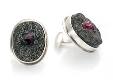 Garnet in Schist Cuff Links by Ashley Vick (Silver & Stone Cuff Links)