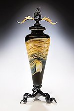 Black Strata Avian Tri-Leg Vessel by Danielle Blade and Stephen Gartner (Art Glass Sculpture)