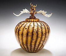 Batik Acorn Vessel with Avian Finial by Danielle Blade and Stephen Gartner (Art Glass Vessel)