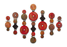 Circle Sticks in Red with Black Squares by Rhonda Cearlock (Ceramic Wall Sculpture)