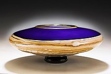 Amethyst Strata Footed Bowl by Danielle Blade and Stephen Gartner (Art Glass Bowl)