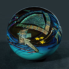 Mocha Graphic Evolution Paperweight by Shawn Messenger (Art Glass Paperweight)