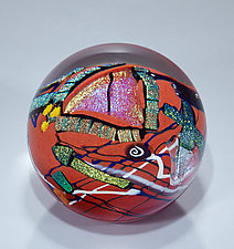 Red Graphic Evolution Paperweight by Shawn Messenger (Art Glass Paperweight)