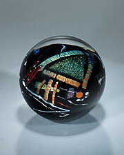 Black Graphic Evolution Series Paperweight by Shawn Messenger (Art Glass Paperweight)