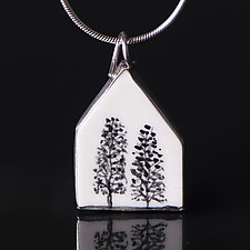 Two Tree House Pendant by Diana Eldreth (Ceramic Necklace)