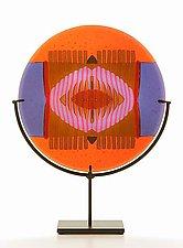 Orange/Lavender Medallion by Lynn Latimer (Art Glass Sculpture)