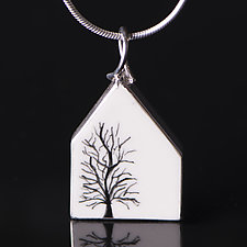 House with Tree Pendant by Diana Eldreth (Ceramic Necklace)