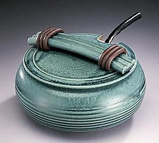 Green Soup Tureen with Ladle by Jan Schachter (Ceramic Casserole)