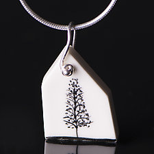 House Pendant with Single Tree by Diana Eldreth (Ceramic Necklace)