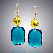 London Blue Quartz and Yellow Quartz Earrings by Judy Bliss (Gold & Stone Earrings)