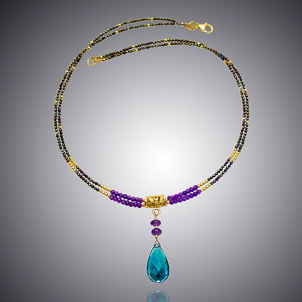 Amethyst, Spinel, and London Blue Quartz Necklace