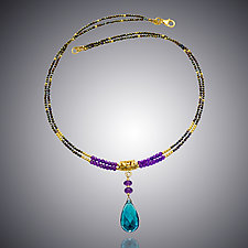 Amethyst, Spinel and London Blue Quartz Necklace by Judy Bliss (Gold & Stone Necklace)