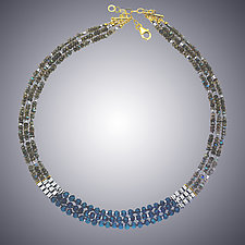 Labradorite and London Blue Quartz Necklace by Judy Bliss (Gold & Stone Necklace)