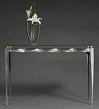 Steel /Glass / Brass Console Table by Ken Girardini and Julie Girardini (Metal Console Table)