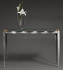 Steel /Glass / Brass Console Table by Ken Girardini and Julie Girardini (Metal Console Table)