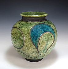 Turquoise Arc Raku by Tom Neugebauer (Ceramic Vase)
