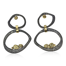 Double Open Pebbles Dangle Earrings by Rona Fisher (Gold & Silver Earrings)
