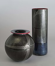 Silver Foil Vase by David J. Benyosef (Art Glass Vase)